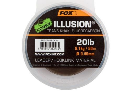 Fox Edges Illusion Flurocarbon Leader x 50m 0.40mm - 20lb - 9.09kg - trans khaki