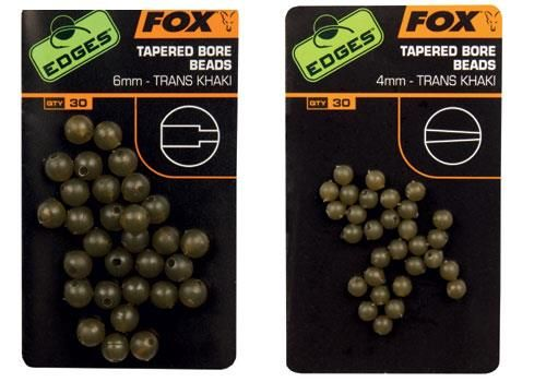 Fox Edges 4mm Tapered Bore Beads x 30 - trans khaki