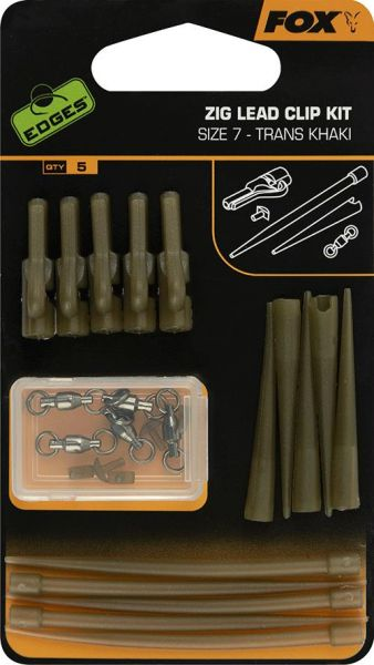 Fox Edges Zig Lead Clip Kit Trans Khaki Kit Size 7