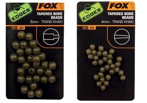 Fox Edges 6mm Tapered Bore Beads x 30 - trans khaki