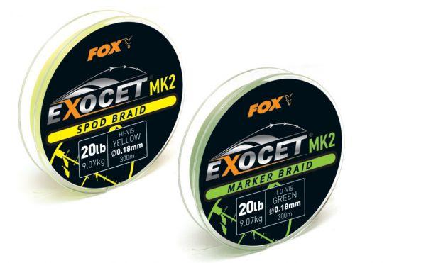 Fox Exocet MK2 Marker Braid 0.18mm - 20lb X 300m - green