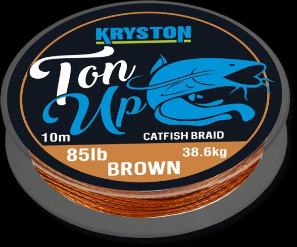 Kryston Ton Up Catfish Braid 85lb x 10m Gravel Brown