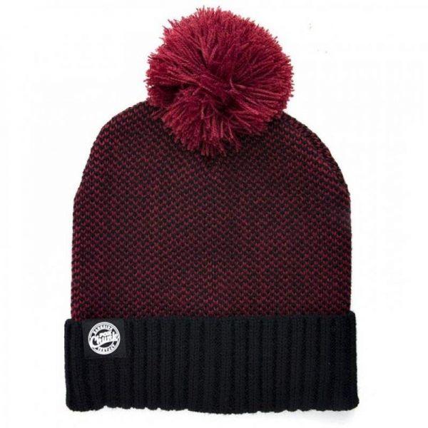 Fox Chunk Burgundy-Black Bobble Hat